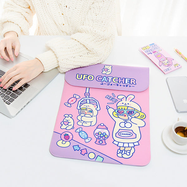 Lovely Pink UFO Catcher Laptop Sleeve Desktop Organizers kiniyo stationary 4146p