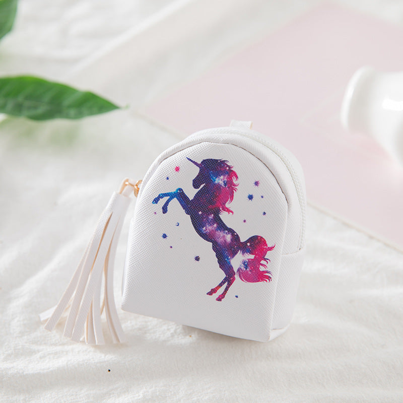 Mini Cartoon Unicorn Tassel Coin Purse Canvas Bag kiniyo stationary 2698p