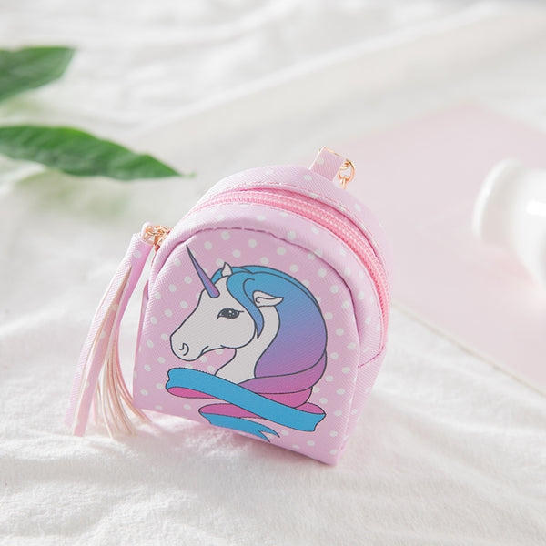 Mini Cartoon Unicorn Tassel Coin Purse Canvas Bag kiniyo stationary 2699p