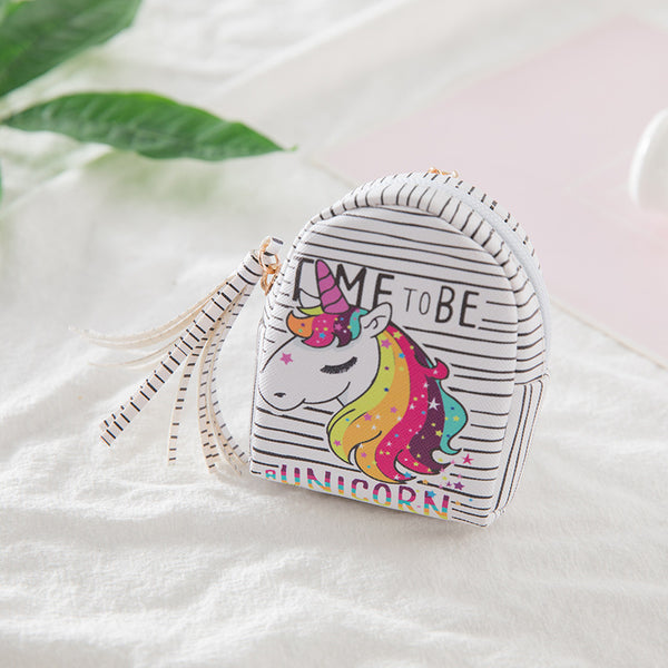 Mini Cartoon Unicorn Tassel Coin Purse Canvas Bag kiniyo stationary 2700p