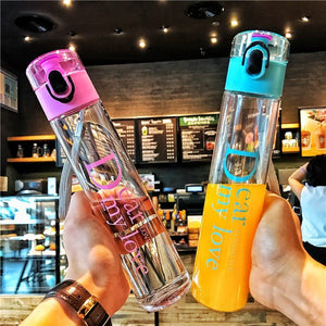 Transparent High Slender Bottle Plastic To-go Cup 400ml