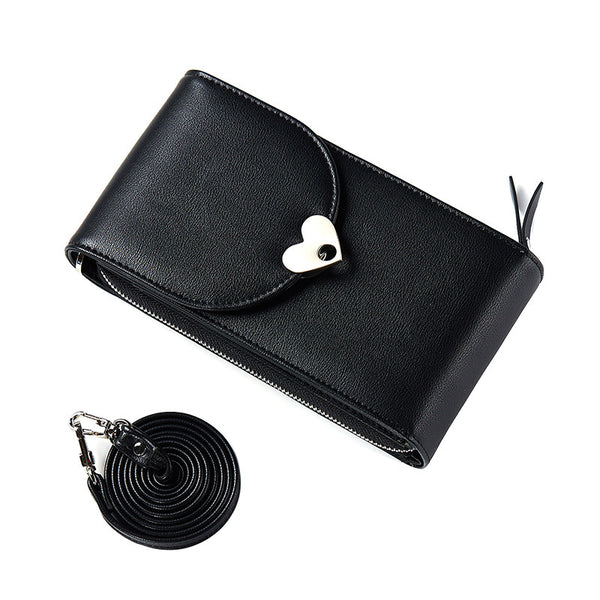PU Pure Color Heart Button Wallet Shoulder Bag+black