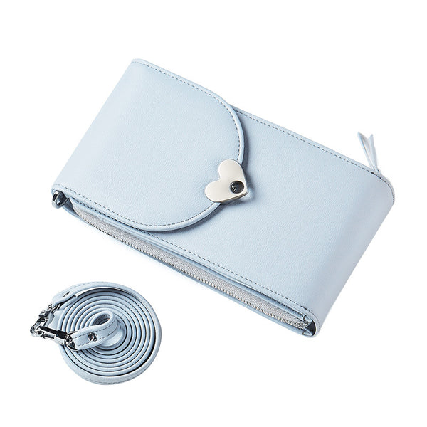PU Pure Color Heart Button Wallet Shoulder Bag+light blue