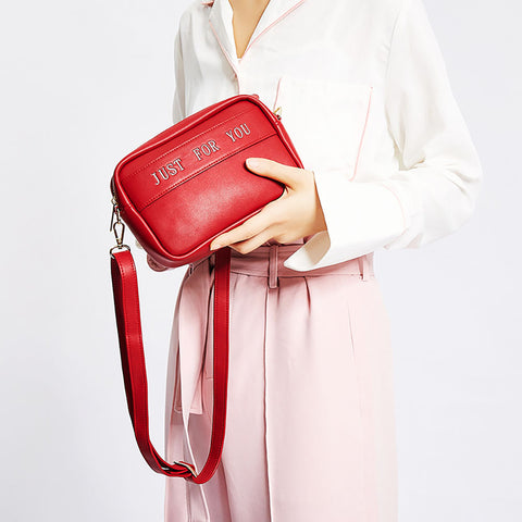 PU Pure Color Just For You Shoulder Bag+red