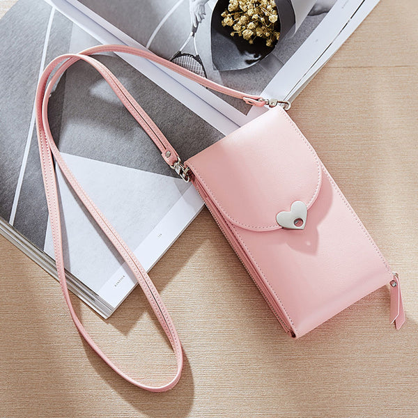 PU Pure Color Heart Button Wallet Shoulder Bag+pink