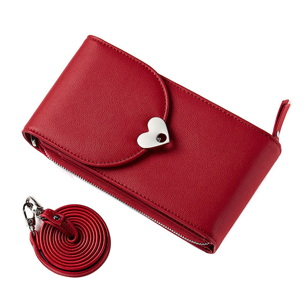 PU Pure Color Heart Button Wallet Shoulder Bag+red