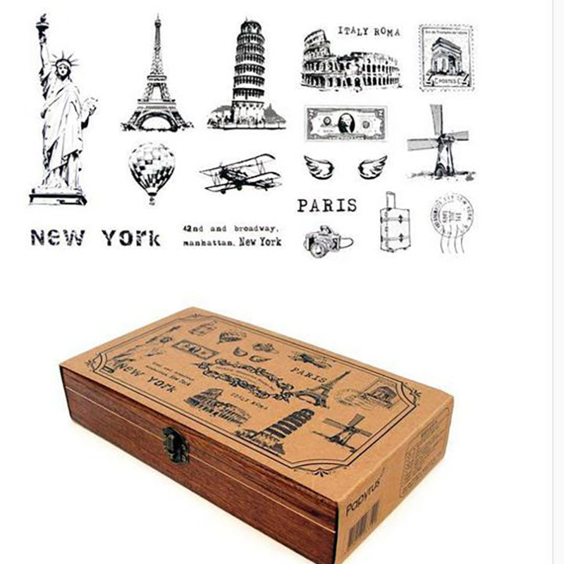 World Vintage Postmark Wood Stamp