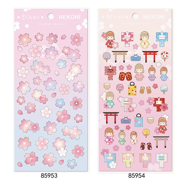 Romantic Japanese Sakura Animal Series Solid Sticker