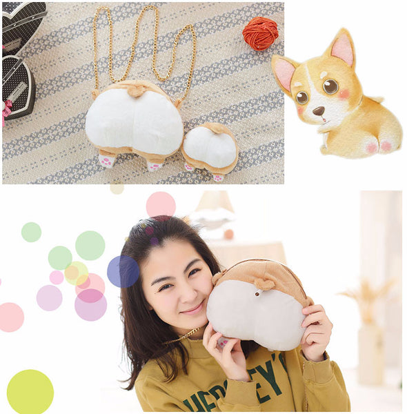 Furry Soft Cartoon Corgi Ass Coin Purse/Shoulder Bag Canvas Bag kiniyo stationary 3769p