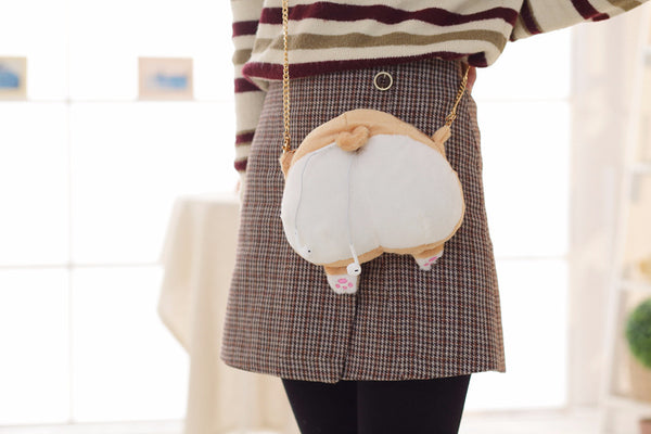 Furry Soft Cartoon Corgi Ass Coin Purse/Shoulder Bag Canvas Bag kiniyo stationary 3770p