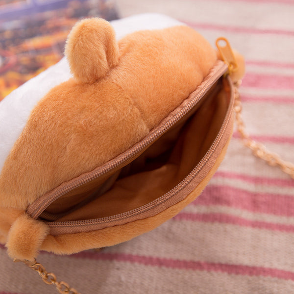 Furry Soft Cartoon Corgi Ass Coin Purse/Shoulder Bag Canvas Bag kiniyo stationary 3777p