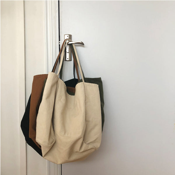 Pure Color Large Capacity Canvas Shoulder Bag