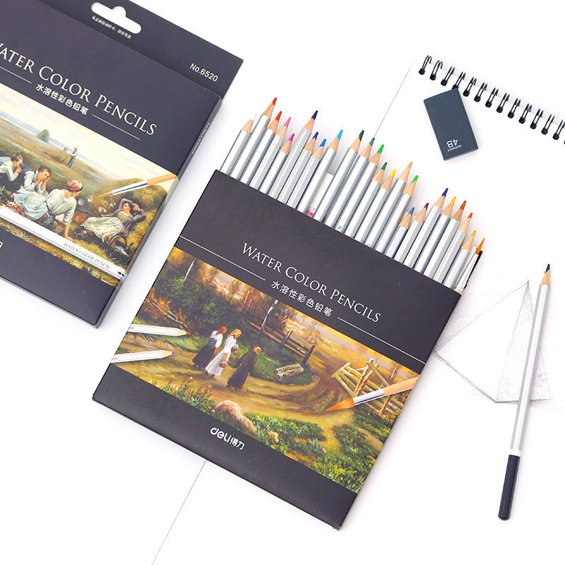 24/48pcs Water-Soluble Color Pencil with Paper Box