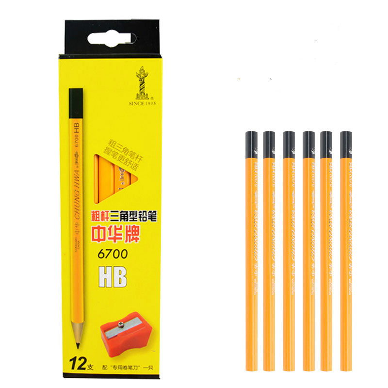 12pcs HB Triangle Type Thick Pencil