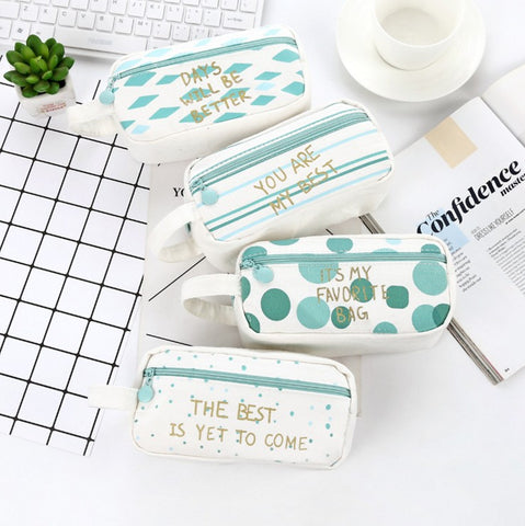 1 Piece Large Capacity Mint Green Canvas Pen Pencil Case KINIYO Stationery