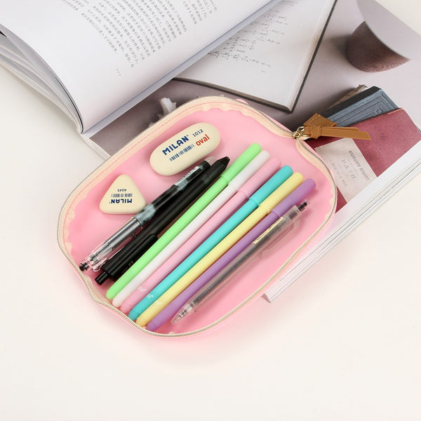1 Piece Large Capacity Silicone Pen Pencil Case with Zipper