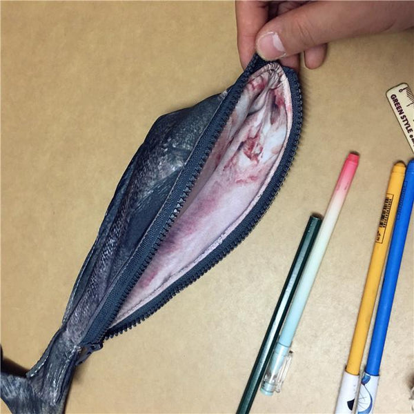 Fish Shaped Zipper Pencil Case