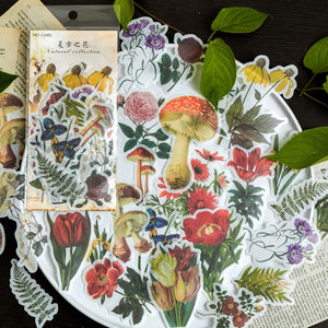 60pcs Vintage Flower Sticker Set
