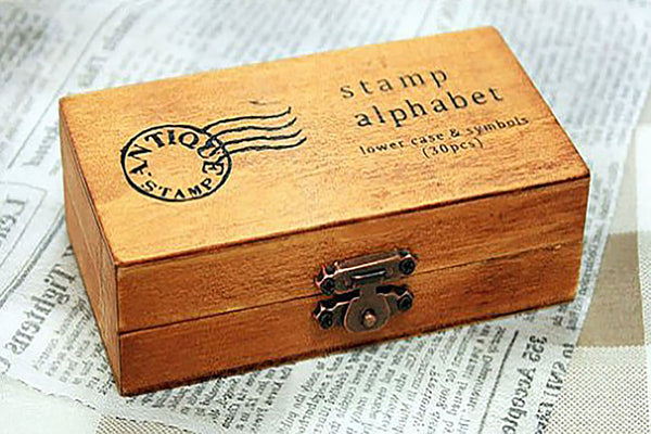 Vintage Alphabet Wood Box Stamp