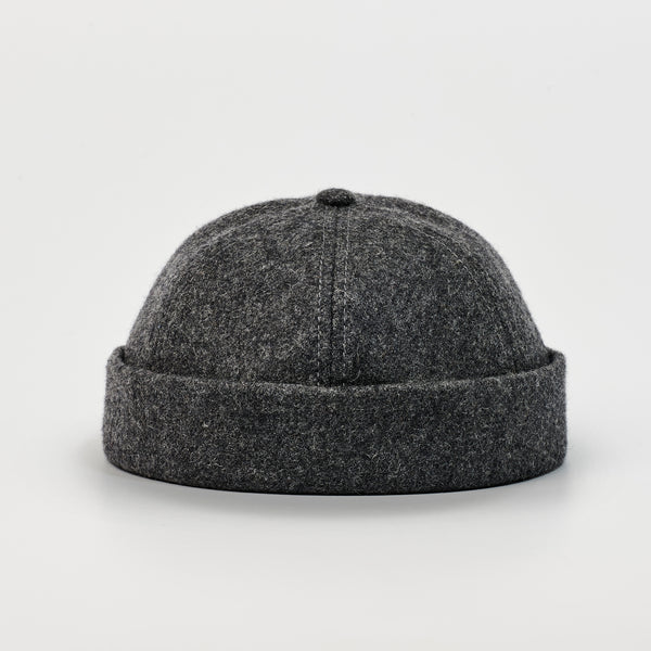 cptn originals, docker hat, dark grey, wool, docker cap