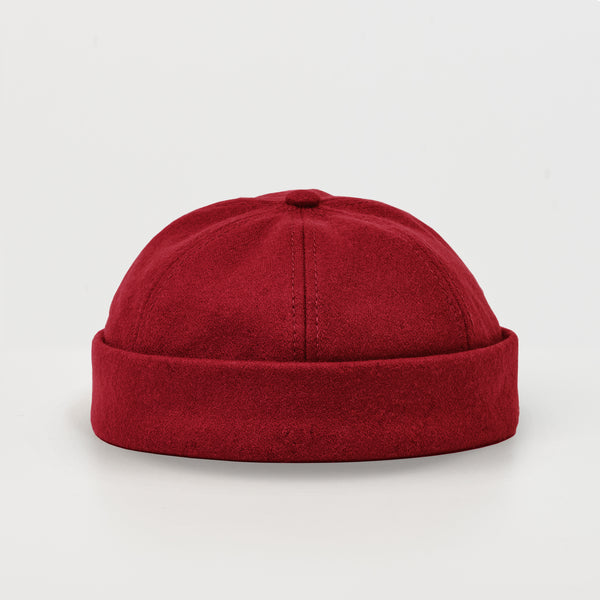 docker cap, dockers, docker hat, wool cap, brimless cap, red wool, cptn originals