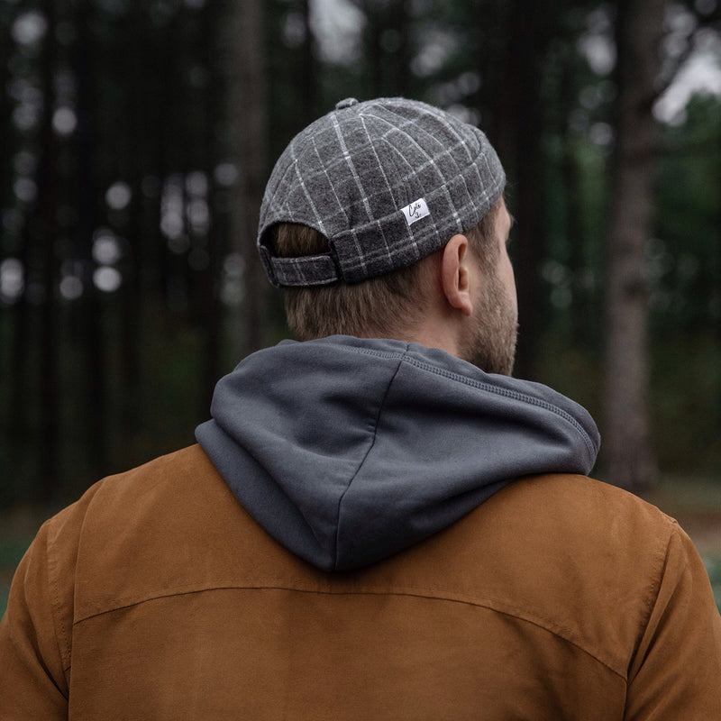 cptn originals, docker cap, miki hat, grey check wool