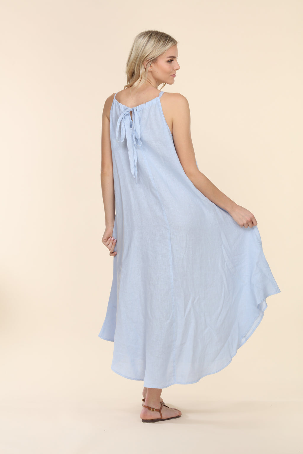 Linen Summer Dress - Baby Blue