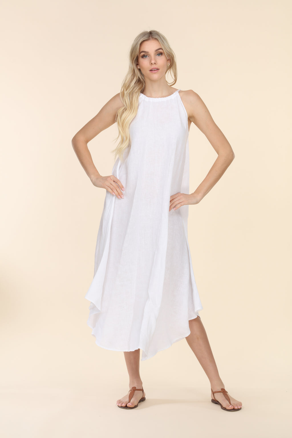 Linen Summer Dress - White