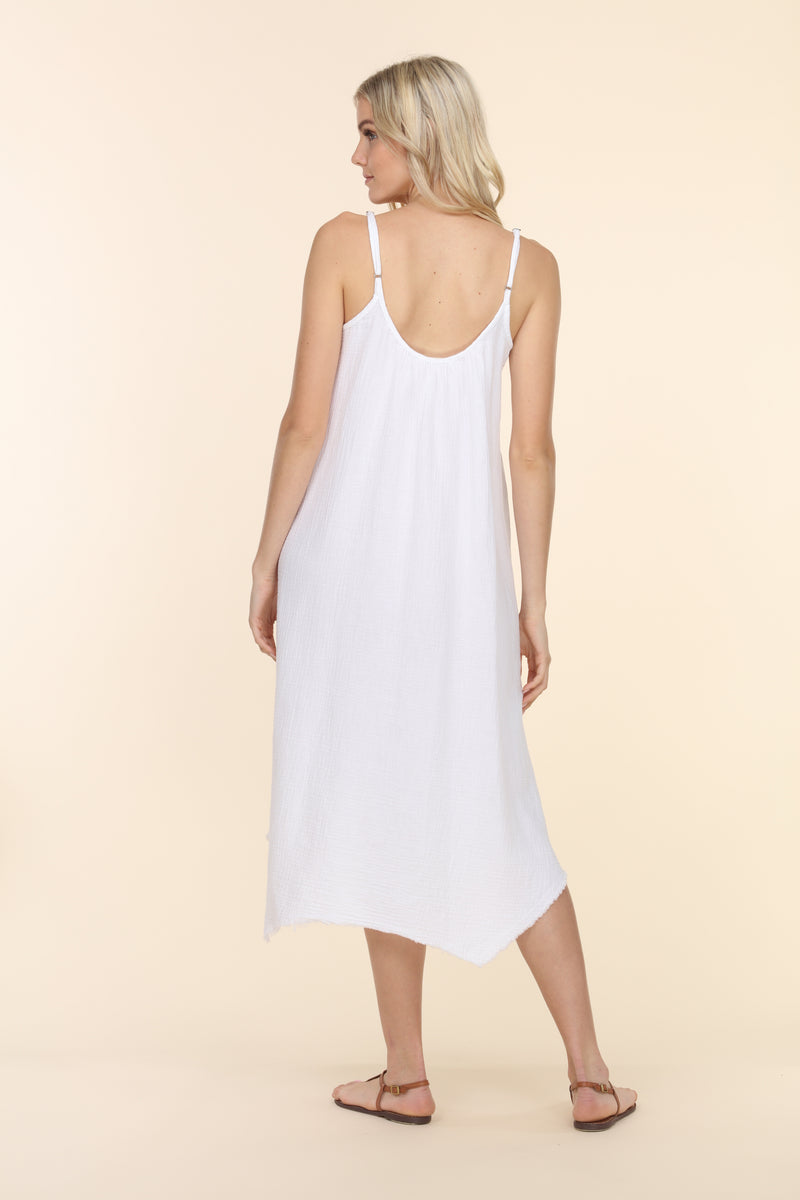 Sleeveless Gauze Dress - White