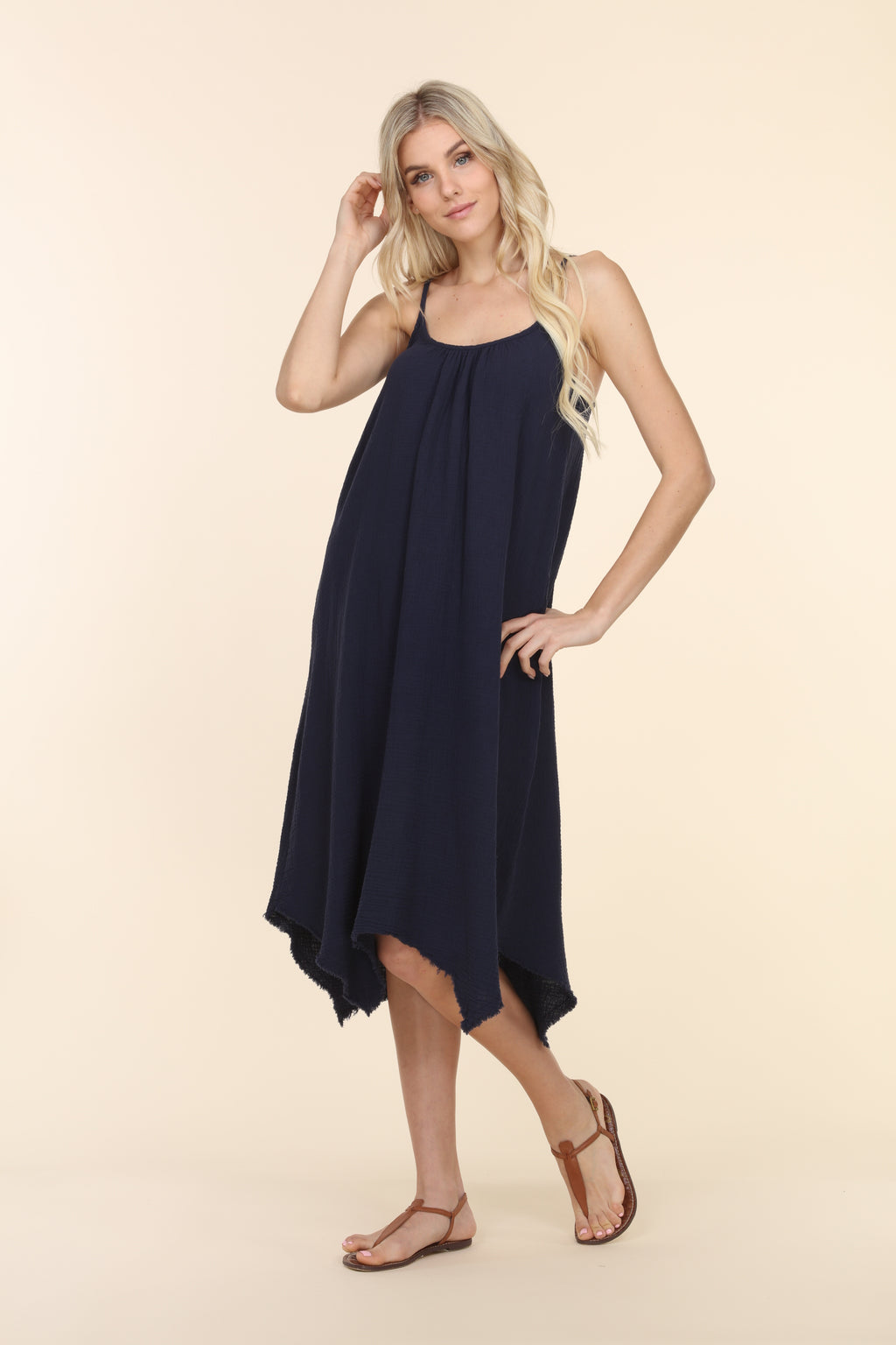 Sleeveless Gauze Dress - Navy