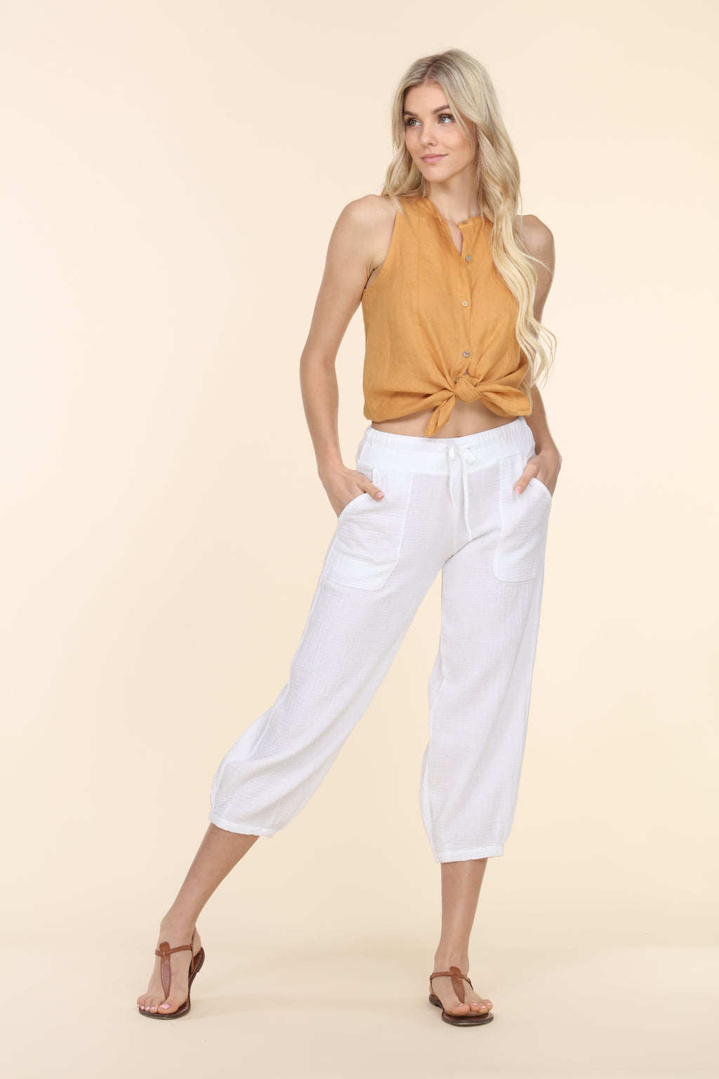 Gauze Capri Pants - White