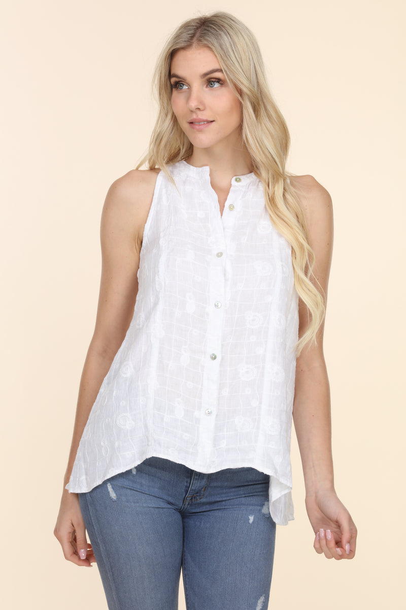 Embroidered Sleeveless Linen Shirt
