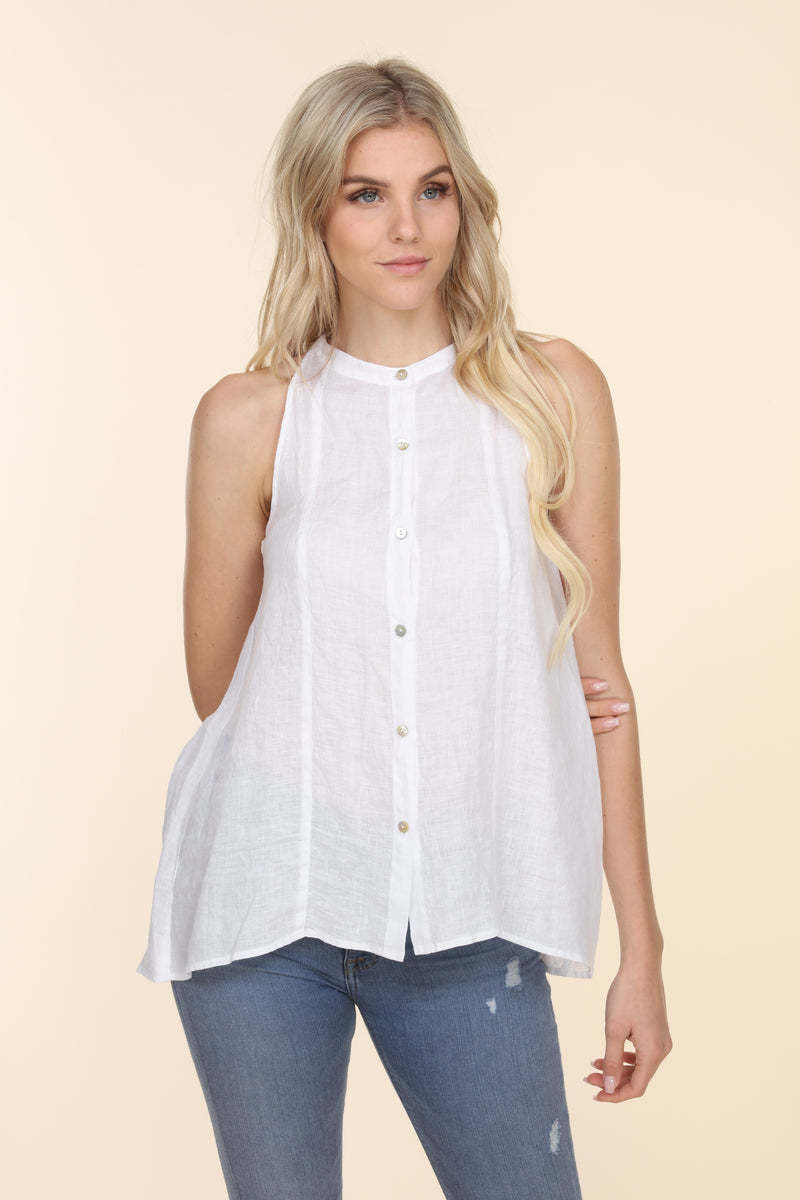 Sleeveless Linen Button Up - White