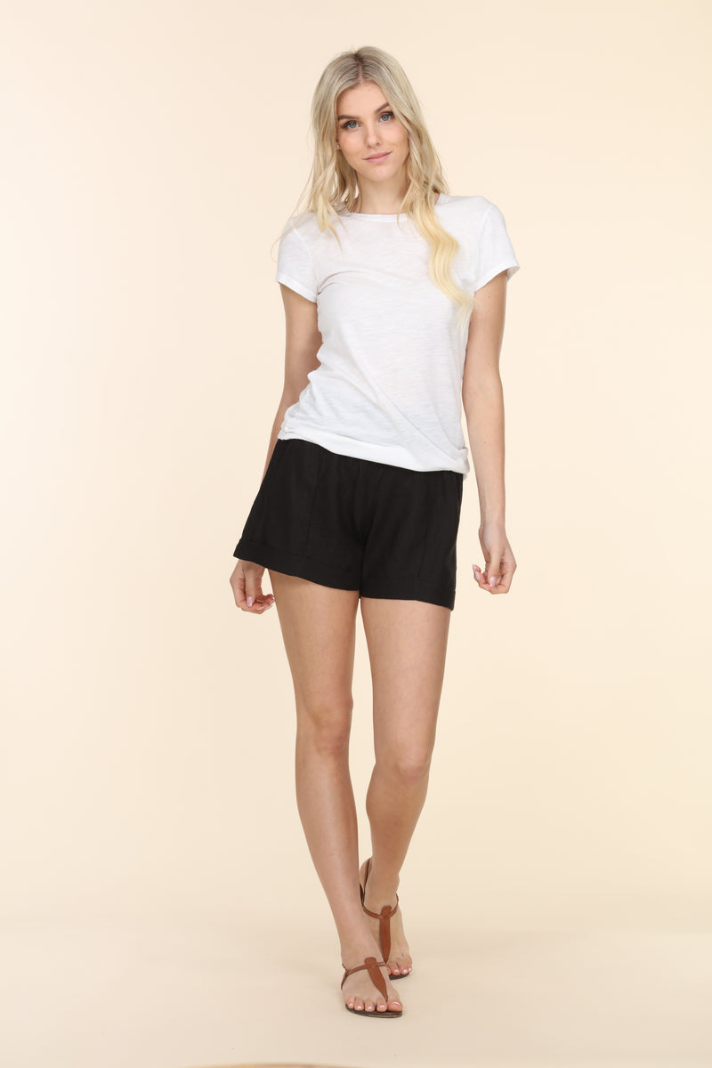 Linen Foldover Shorts - Black