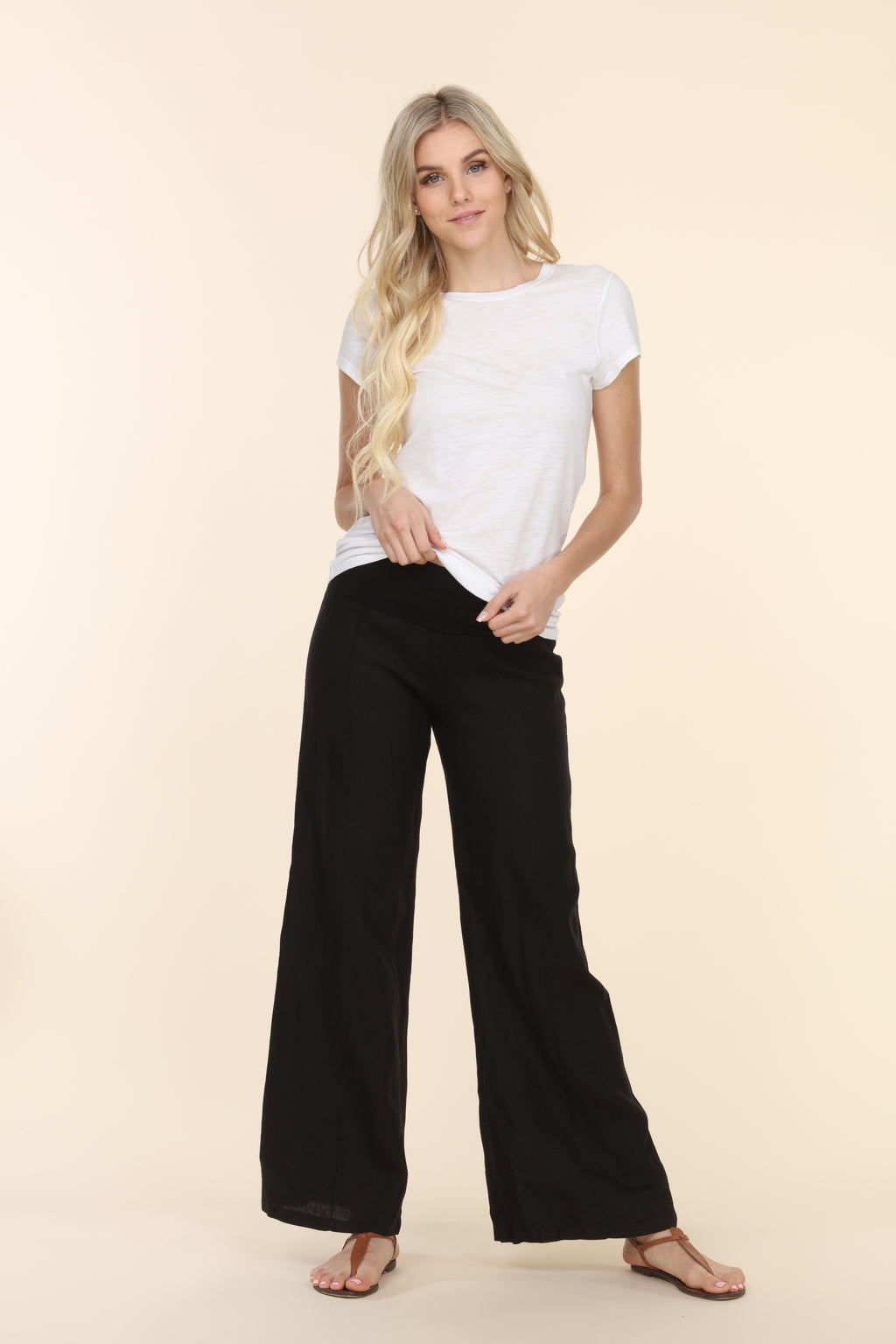 Linen Foldover Pants - Black