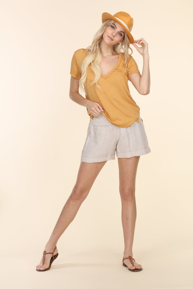 Striped Fold-Over Linen Shorts
