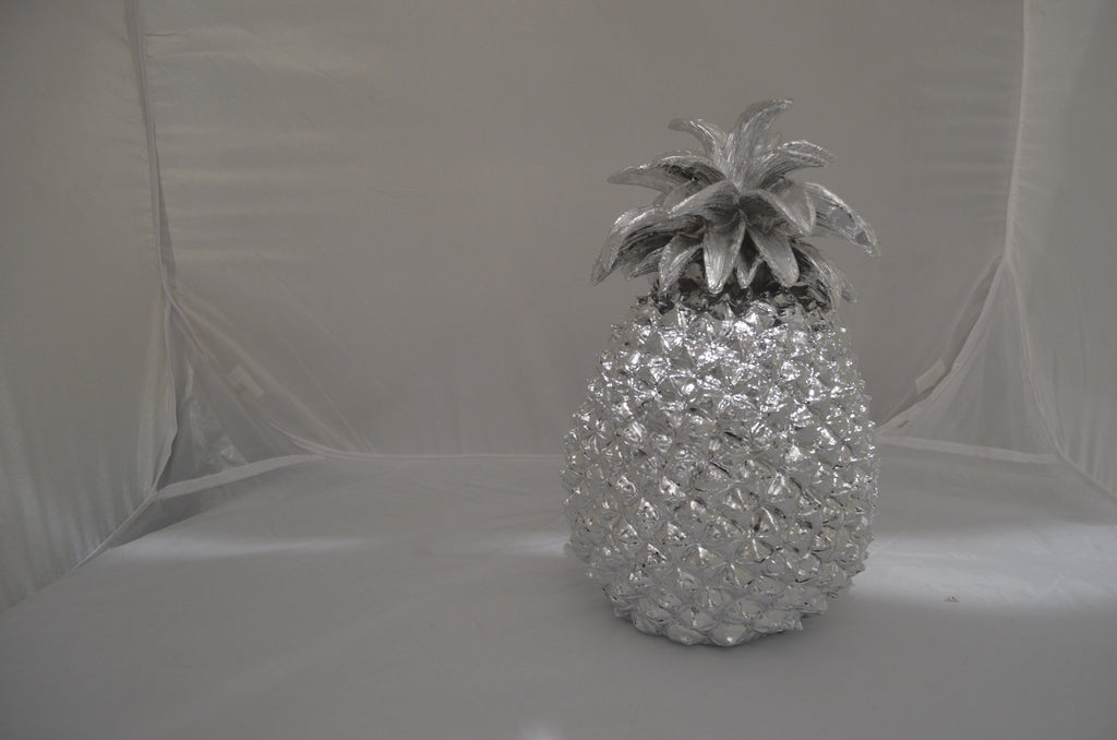 QUIRKY LARGE SILVER PINEAPPLE TABLE DECORATION