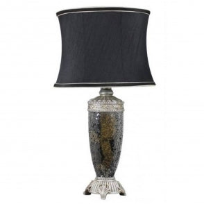 ANTIQUE FRENCH STYLE BLACK AND GOLD MOSAIC LAMP