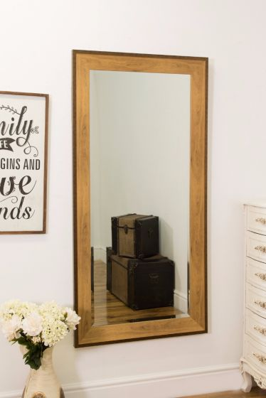 LARGE GOLD BRONZE EDGE FULL LENGTH WALL MIRROR