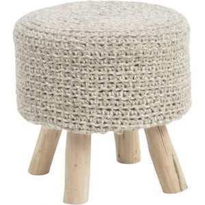 NOMAD KNITTED GREY STOOL