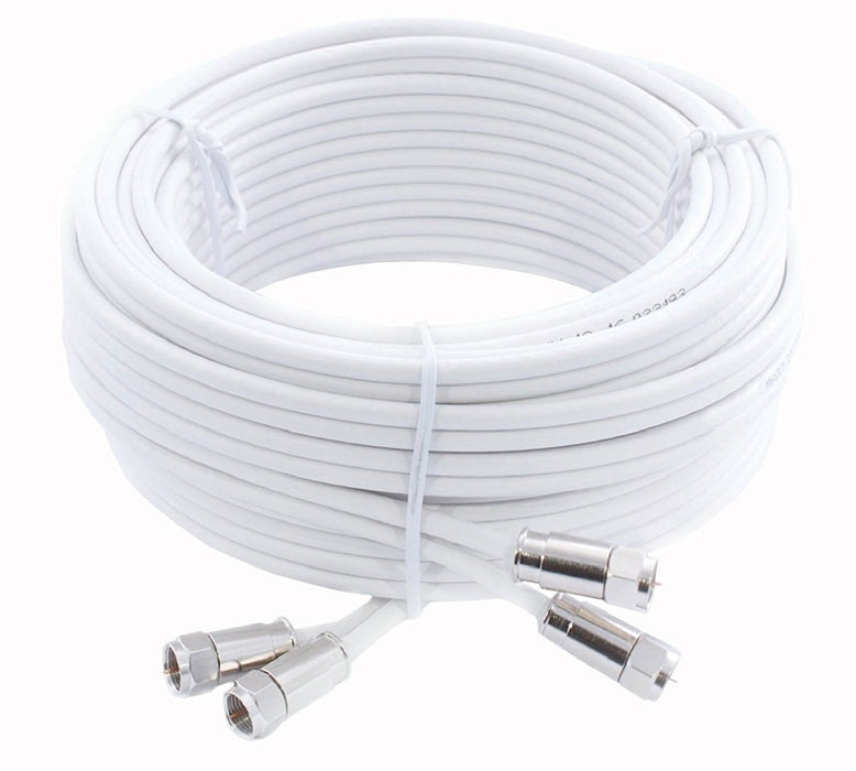 SSL Satellites Twin Satellite Shotgun Cable Extension Kit with Premium Fitted Compression F Connectors for Sky q HD and Freesat - (White, Black)