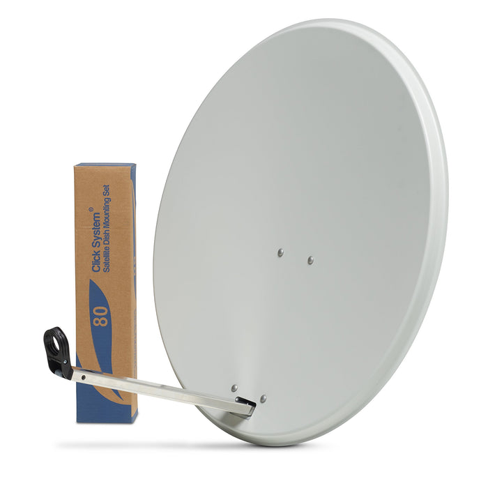 80cm HD Satellite Dish for Sky Freesat Hotbird Astra TV signals Hi-Gain & Pole Mount Fittings - SSL satellites
