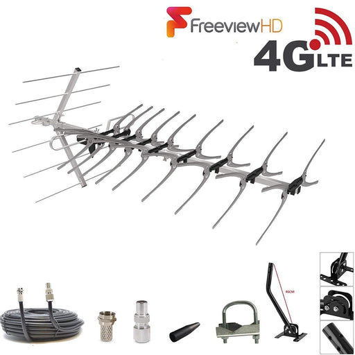 48 Element 4K HD Freeview TV Aerial Kit With Built In 4G LTE Filter For Outdoor or Indoor Installation