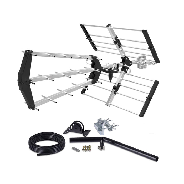 Digital TV Aerial KIT 48 Element Tri Boom HD Freeview loft /Outdoor Aerial Antenna 4G