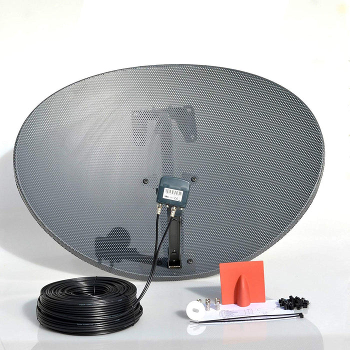 SSL Satellites 80CM Zone 2 Freesat HDR Satellite Dish DIY Self Installation Kit,Latest Dish with Quad LNB, Single RG6 & Twin Coax Cable all necessary Brackets,Bolts and SATELLITE FINDER