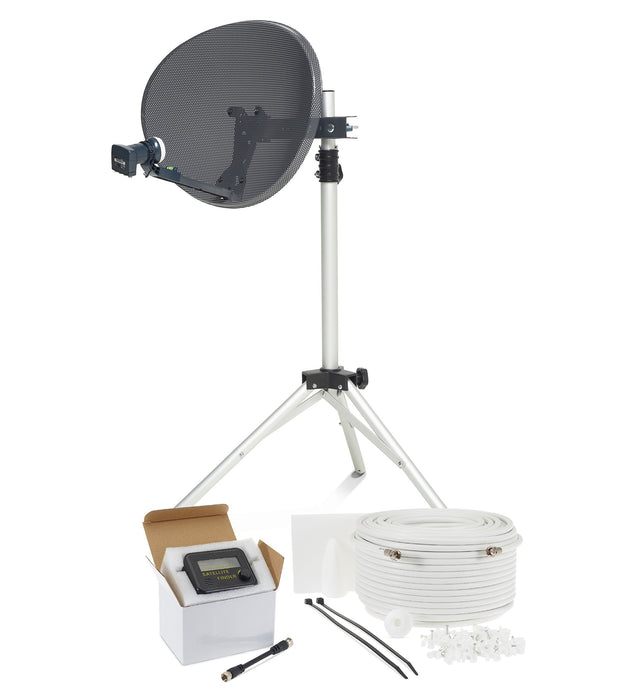 SSL Satellites Zone 1 Portable Satellite Dish Kit Tripod Quad LNB & Sat Finder - Twin White/Black - Full DIY Kit for Caravan