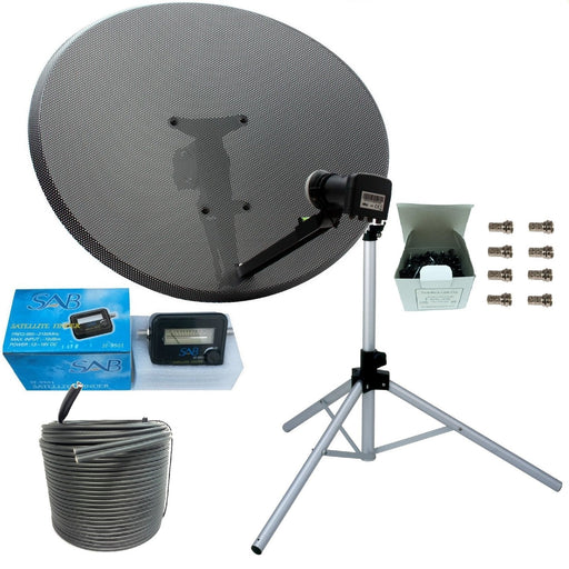 SSL Satellites work with Sky or Freesat Satellite Tripod and Dish Set for Caravan, Motorhome and Camping Complete with Tripod, MK 4 80cm Sky Dish, Quad LNB, White & Black Twin Coax Cable, Clamp, Satellite Meter/Finder
