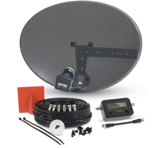 SSL Satellite Dish Kit for SKY/Freesat/Astra/Polsat/Hotbird/Full HD,Latest MK4 dish with Quad LNB,Twin White & Black Cable,Signal finder,Brackets,Bolts, F Connectors & instructions
