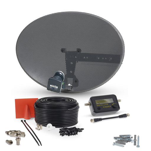 SSL Satellite Dish Kit for SKY/Freesat/Astra/Polsat/Hotbird/Full HD,Latest MK4 dish with Quad LNB,RG6 White & Black Cable,Signal finder,Brackets,Bolts, F Connectors & instructions
