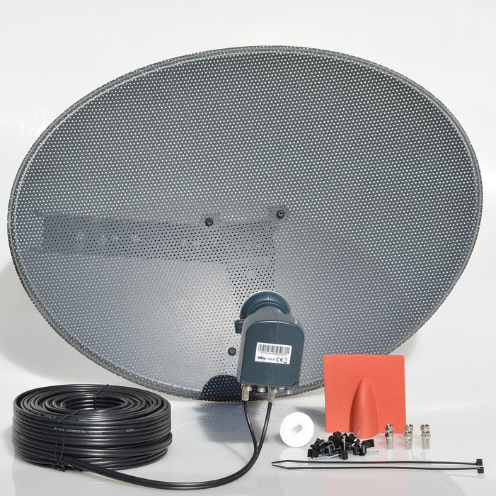 SSL Satellites Freesat HDR Satellite Dish DIY Self Installation Kit,Latest Dish with Quad LNB,Twin coax Cable all necessary Brackets,Bolts and SATELLITE FINDER (White, Black Kit)